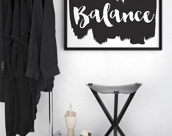Balance || balance print, monochrome art, yoga print, zen poster, balance poster, yoga print, typography print, inspirational print,