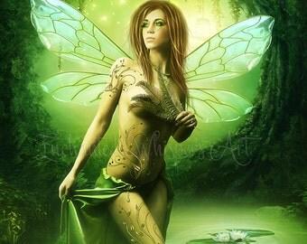 Fantasy Fairy art, fantasy fairy print, Emerald Fae print, Green fairy art, fairy wings, fantasy art print, beautiful fairy print, decor