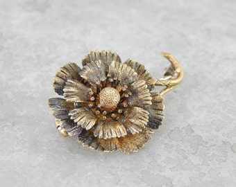 Antique Textured Green And Yellow Gold Daisy Brooch CZ7AD4-P