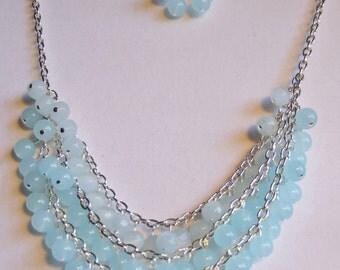 Pale aqua bib necklace 0365NK