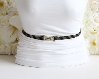 Black Gold Tie Belt