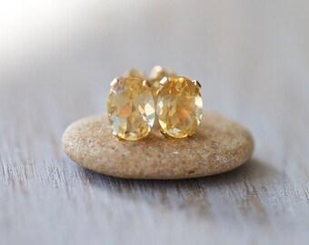 Citrine Earrings, Citrine Gold Stud Earrings, AA-Grade Yellow Citrine Earrings, Minimalist Earrings, Gold Earrings, November Birthstone