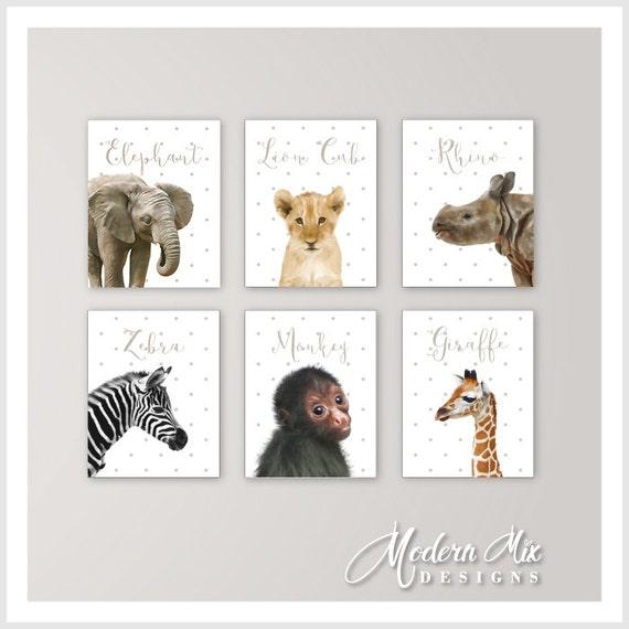 Safari Animal Prints Canvas Nursery Decor Baby Animal Prints