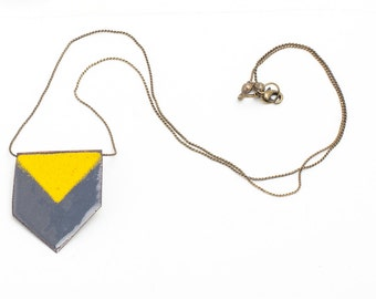 Grey and Yellow Chevron Enamel Necklace. Statement necklace.Kiln Fired Enamel on copper with brass chain. Boho necklace.Women accessories