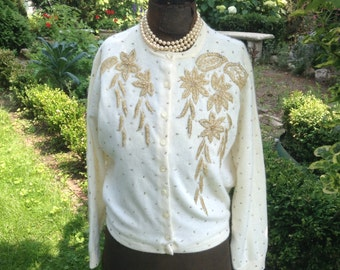1950s Beaded Sweater / Heavy Gold Beading on Cream / Vintage Cardigan Sweater