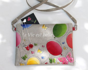 "Shoulder bag zipped illustrated linen ""life is beautiful"""