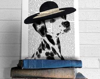 Dalmatian Picture Dalmatian art print Dalmatian gift - Black Hat - Dalmation poster Dalmatian Art Dalmatian Painting Dalmatian Dog