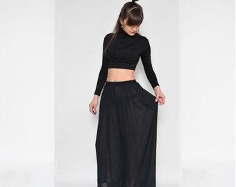Vintage 90's Black Sheer See Thru Pants