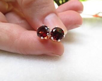 Garnet Studs, Sterling Silver Semi Precious Gemstone 6 mm Red Studs, January Birthstone Earrings, Grade A Almandite Garnet Post Earrings