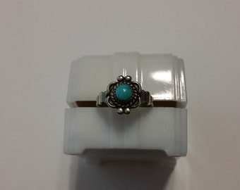 R 114 sterling silver and turquoise ring. approximate size 4 3/4.