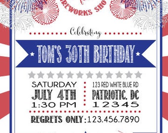 FIREWORKS - JULY 4TH - PATRIOTIC Invitation - Red White & Blue- Front and Back designs included!