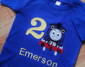 Choo - Choo Train Tank Engine on the Railroad - Train with Friends Birthday Number Shirt / Onesie Embroidery Name (Personalizing Included)