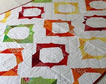 Merry-go-Round -  A Red, Orange, Yellow, & Green Modern Quilt