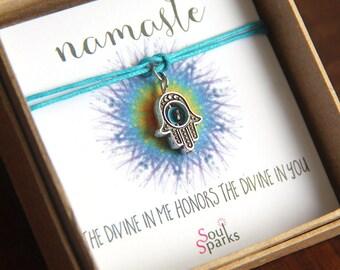 Namaste Hamsa Bracelet or Anklet - The divine in me honors the divine in you - Hamsa with evil eye charm aqua blue bracelet, Yoga Bracelet