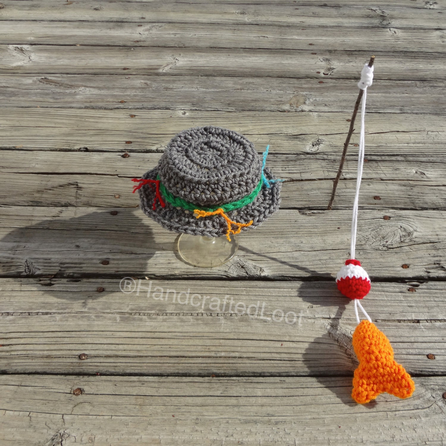 Crochet newborn baby fisherman photo prop outfit fishing hat for Baby fishing outfit