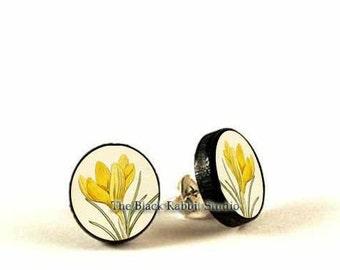 Yellow Crocus - handmade stud earrings - decoupage