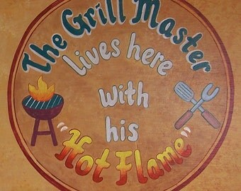 Grill Master, bbq sign, barbecue hand painted sign