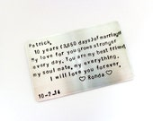 Aluminum Wallet Insert Card - 10 Year Anniversary - Your Own Message - For the one You LOvE - Gift For Him