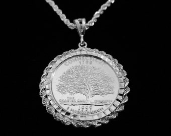 CONNECTICUT  Charter Oak Silver Drop w Matching Sterling Rope Chain and Velvet Gift Box