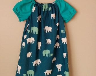 Girls Peasant Style Dress. Elephants. Size 5