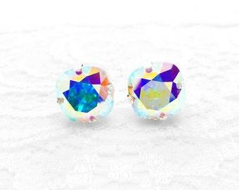 Rainbow Crystal Earrings, Crystal AB Swarovski Crystal Post Earrings, Aurora Borealis, Rainbow Swarovski Crystal Stud Earrings