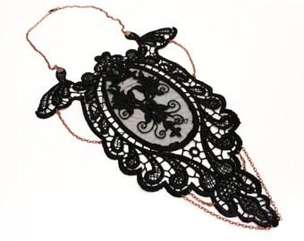 Lace necklace, Lacy Collar, Black lace with bronze chain Gothic, Designer Jewelry, Unique design necklace
