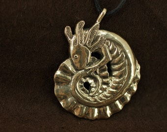 Axolotl bronze pendant necklace animal fantasy