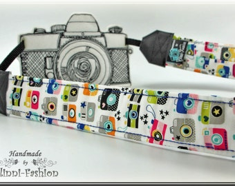 Camera strap, DSLR, white with colorful little cameras Snapshot