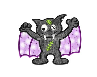 Zombie Bat Halloween Applique Design - Instant EMAIL With Download - for Embroidery Machines