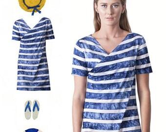SALE!!!! wrap tunic tops - Tunic dress - tunic shirt - striped dress - wrap top - wrap tops women - wrap dress - Womens clothing