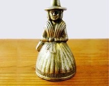 Vintage Brass Bell Hand Etched Antique Brass Bell Lady in Hoop Skirt Colonial Pilgrim Puritan 1600s lady with hat from 1940s Thanksgiving