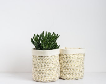 Linen planter, gold pattern canvas storage, natural linen basket