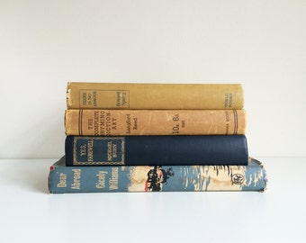 Vintage Decorative Books, Old Book Collection, Vintage Decor, Vintage Wedding Decor