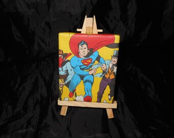 Superman Mini Canvas with Easel hand decorated