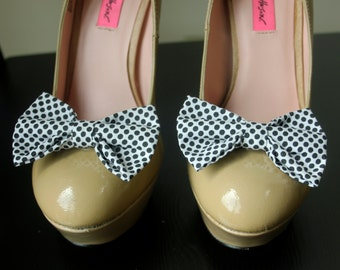 White with Black Polka Dot Shoe Bows, Shoe Clips
