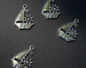 Four Silver Ship Charms with Ship's Wheel  - Tibetan Silver