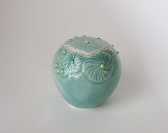 kazaguruma flower vessel / blue green ceramic lidded jar / porcelain container by Echo of Nature, Yumiko Goto