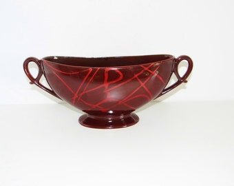 Vintage SylvaC Vase Planter Slymcraft Range No. 3225 Purple Red Maroon Decorative Handles Circa 1950s