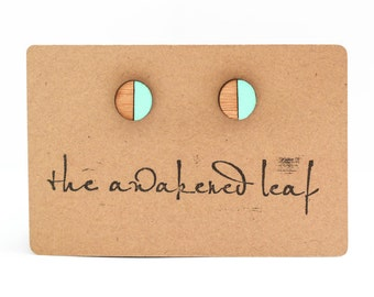 Round Bamboo Earrings / Wood Earrings / Hand Painted Turquoise / Laser Cut / Hand Made