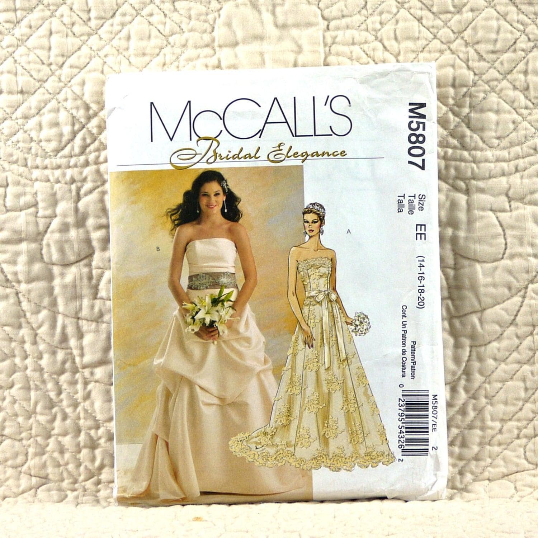 Wedding gown mccalls m5807 pattern for women bridal for Wedding dress patterns mccalls