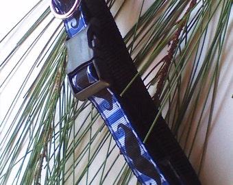 "Dog Collar,Blue And Black,Mustache Design,Boy,5/8"" Handmade Dog Collar #MB117"