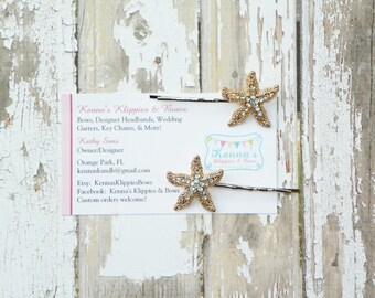 Gold-tone Starfish Bobby Pins, Beach Wedding, Bridal Hair Accessory, Starfish Hair Clip, Destination Wedding, Gold Starfish Hair Pins, Adult