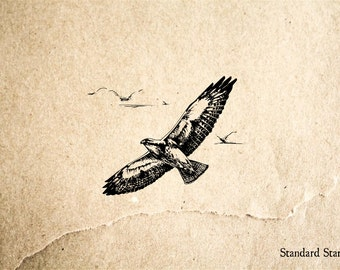Hawk Soaring Rubber Stamp - 2 x 2 inches