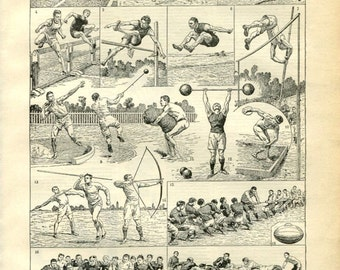 """Antique French Etching 1898's  - Olympics Print   - 7.8"""" x 11.4 inches  - A33- A35"""