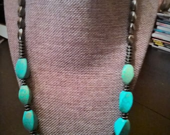 Turquoise Chunky Necklace with Gunmetal Accents, Genuine Semi Precious Howlite Beaded Necklace, Statement Necklace, Bright & Fun!