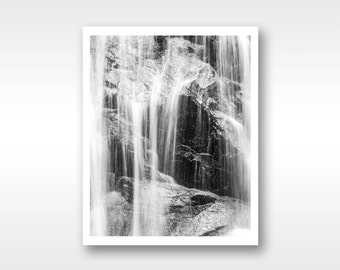 Black and white waterfall scenery fine art photograph, 8x10/ 11x14