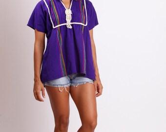 60's - 70's Purple Hippie Top