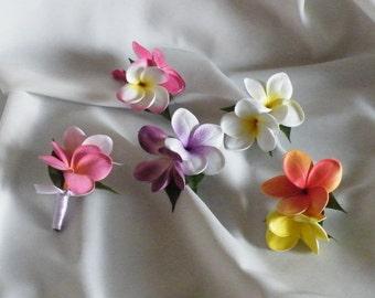 Frangipani Buttonhole Plumeria Boutonniere Corsage Real Touch Destination Wedding
