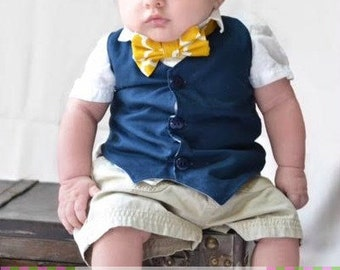 BOW TIE Mustard Large Quatrefoil Sizes Infant, Child, Youth, Adult
