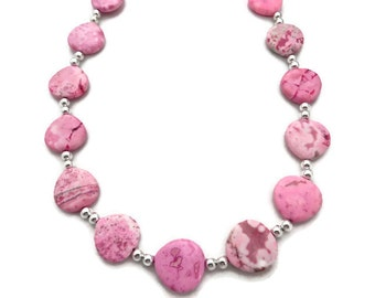 Pink Stone Necklace, Chunky  Pink Necklace, Pink Southwest Necklace, Rose Stone Necklace, Pink Turquoise Necklace, Light Pink Necklace